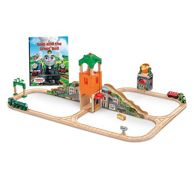 thomas friends wooden railway sam and the great bell train set cgl51 fisher price. Black Bedroom Furniture Sets. Home Design Ideas