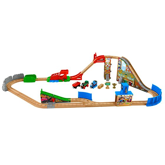 thomas friends wooden railway race day relay set. Black Bedroom Furniture Sets. Home Design Ideas