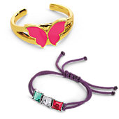 American Girl Butterfly & Gem Bracelet Set