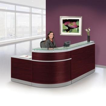 Esquire Glass Top Reception Desk with ADA Return- 95W x 64D ...