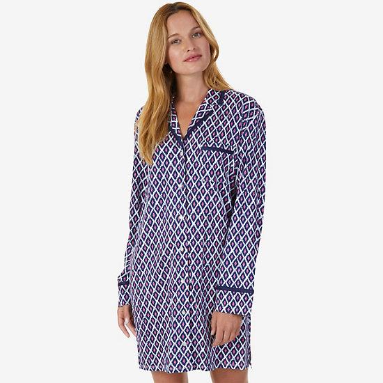 Printed Jersey Knit Sleep Shirt - pink