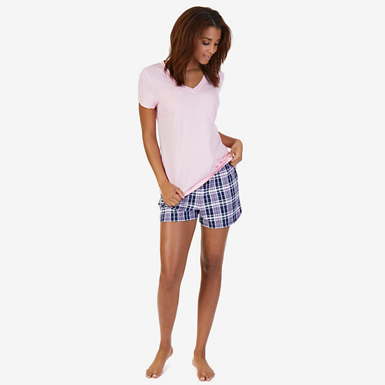 V-Neck Tee & Plaid Short Pajama Set - Pilot Blue