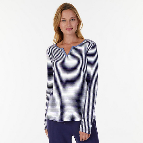 Chambray Stripe Long Sleeve Sleep Tee - Arctic White
