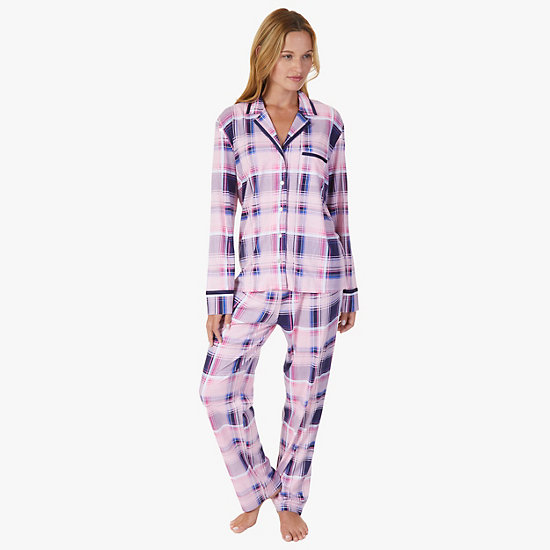 Plaid Jersey Knit Pajama Set,Shipwreck Burgundy,large