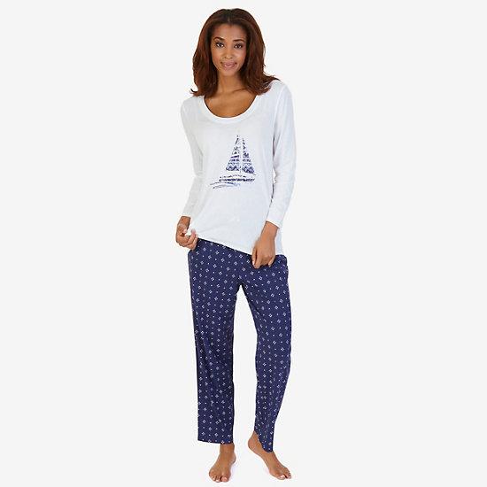 Graphic Sleep Tee & Printed Pant Pajama Set - Star Turquoise