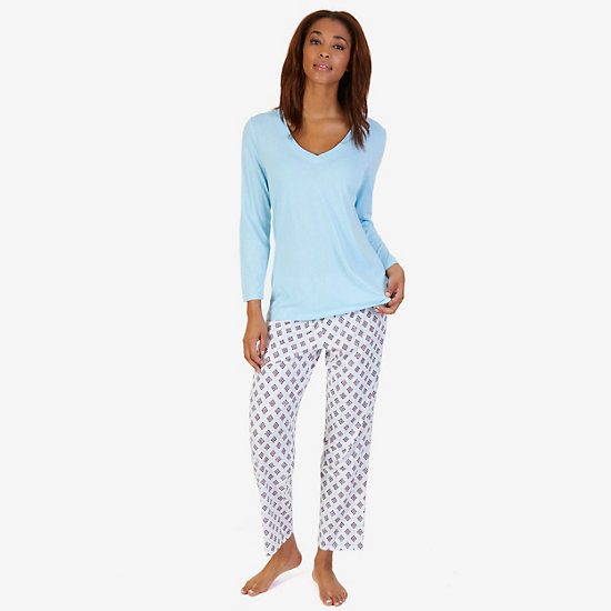 V-Neck Sleep Tee & Printed Pant Pajama Set - Sandcove