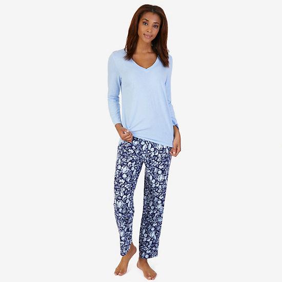 V-Neck Sleep Tee & Printed Pant Pajama Set - Sky Blaze