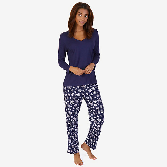 V-Neck Sleep Tee & Printed Pant Pajama Set - Dark Wash