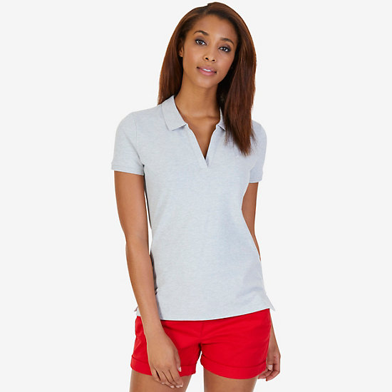 Split-Neck Polo Shirt - Grey