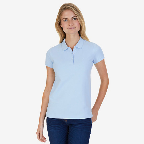 Classic Stretch Cotton Polo Shirt - Crystal Bay Blue
