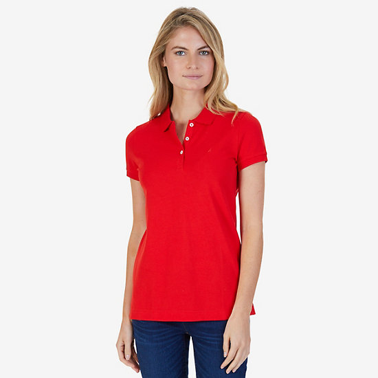 Classic Stretch Cotton Polo Shirt - Crimson