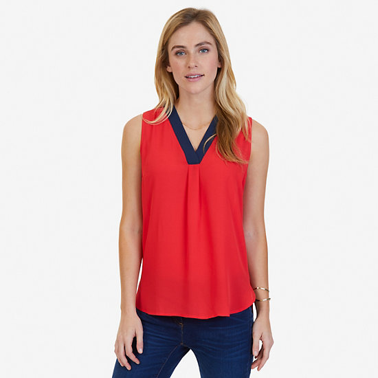 Sleeveless V-Neck Blouse - Desert Rose