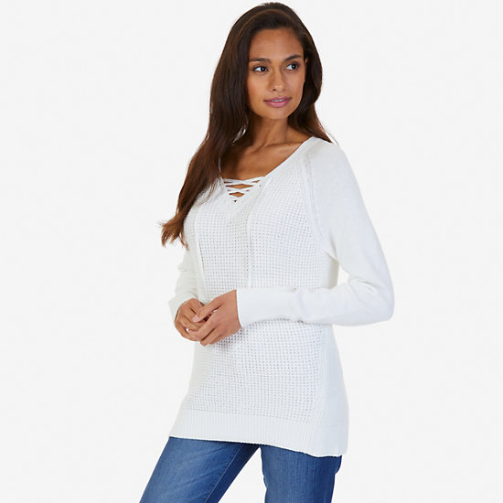 Lace Up Sweater - Marshmallow