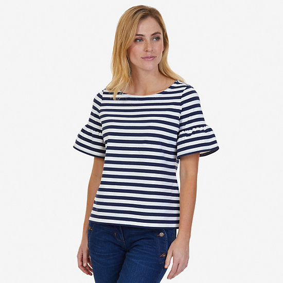Striped Ruffle Sleeve Top,Dreamy Blue,large