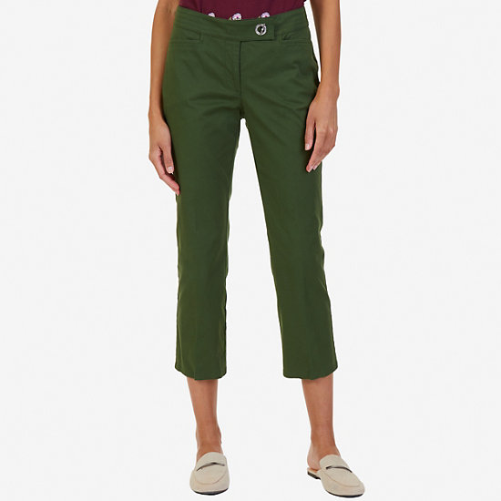 Cropped Cotton Twill Pant - Kelp Seas