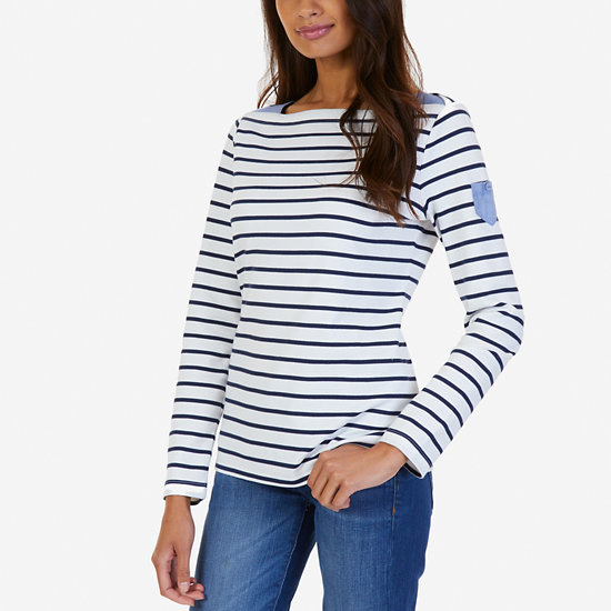 Striped Chambray Accent Top - Marshmallow