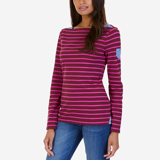 Striped Chambray Accent Top - Port Scarlet