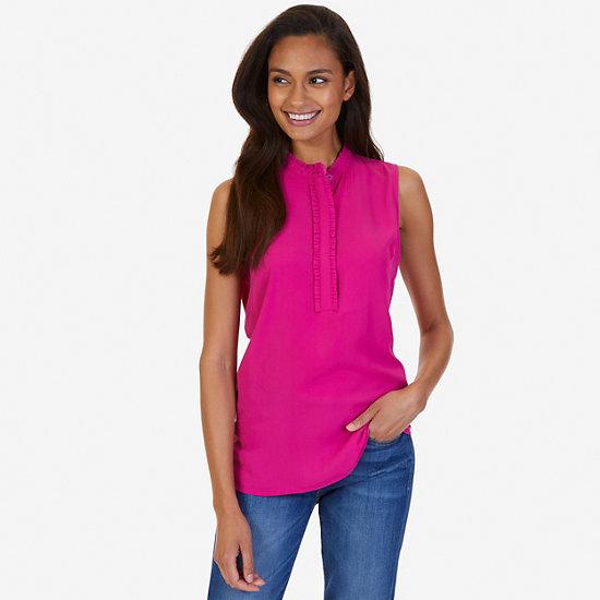 Ruffled Sleeveless Top,Barely Pink,large