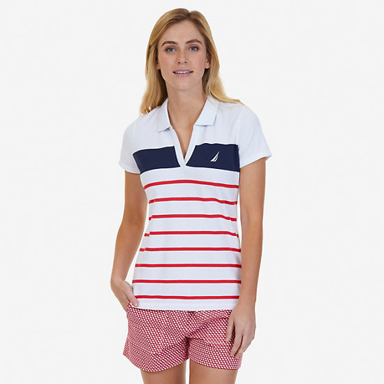 Engineered Stripe Polo Shirt - Desert Rose