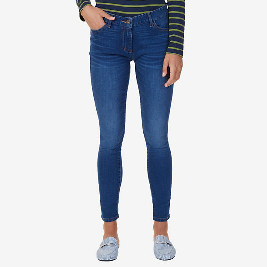 Stretch Denim Flat Front Jeans - Bayside Blue Wash
