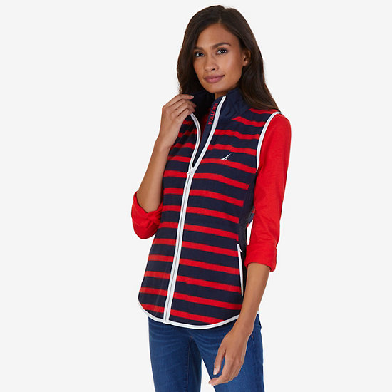 Striped Nautex Fleece Vest - Tomales Red