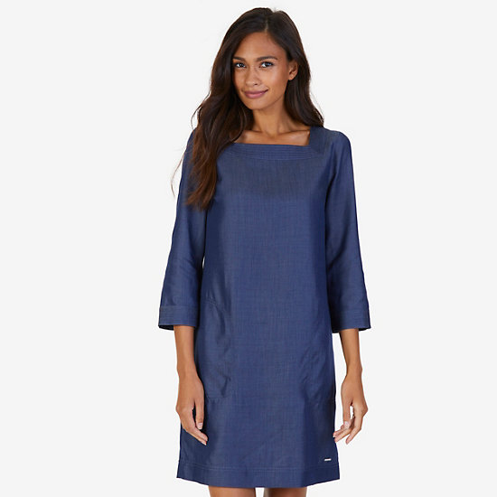 Square Neck Shift Dress - Washed Blue