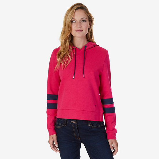 Pullover Arm Stripe Hoodie - Sailor Red