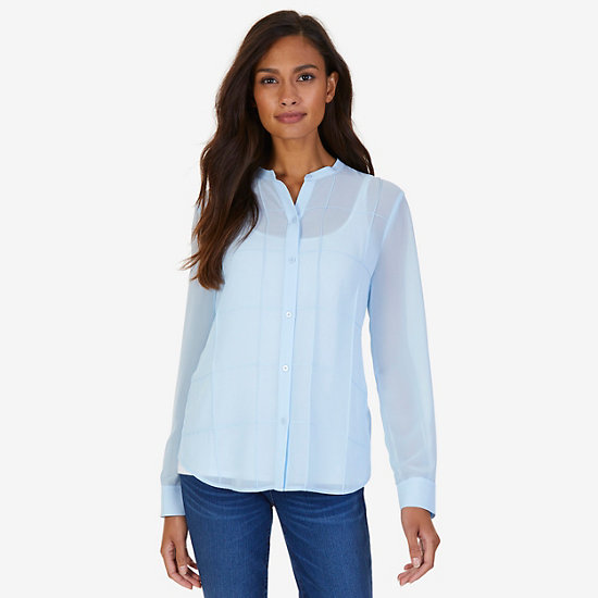Button-Down Grid Blouse - Clear Skies Blue