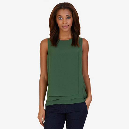 Layered Chiffon Sleeveless Top - Kelp Seas