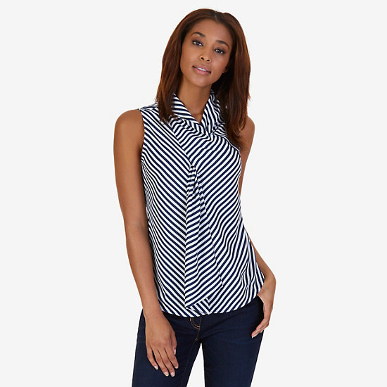 Striped Scarf Neck Top,Dreamy Blue,large