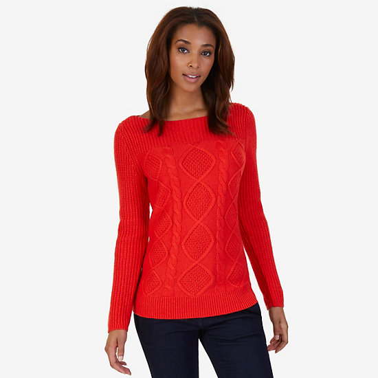 Boatneck Cable Sweater - Red