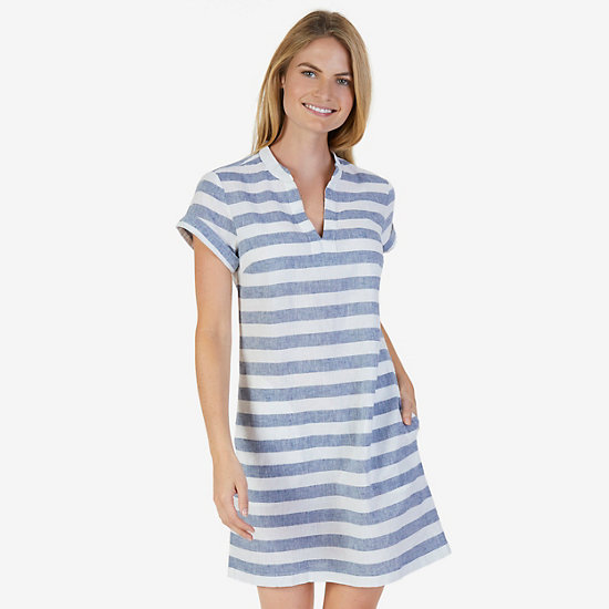 Short Sleeve Linen Blend Striped Dress - Marshmallow
