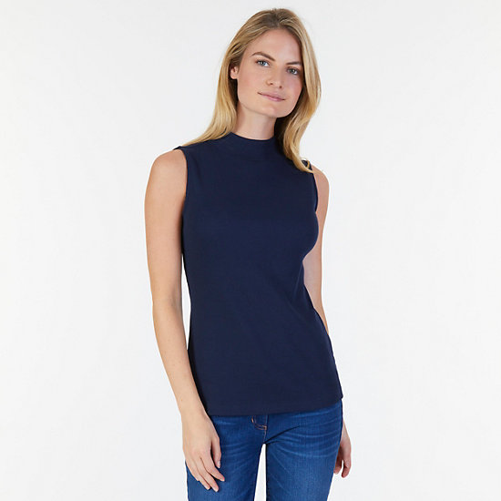 Sleeveless Mock-neck Top - Dreamy Blue