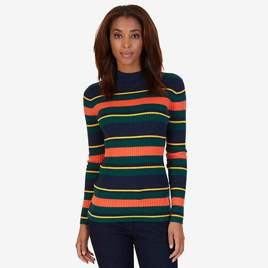 Striped Ribbed Mockneck Sweater - Dreamy Blue
