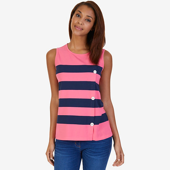 Striped Button-Side Top - Crimson