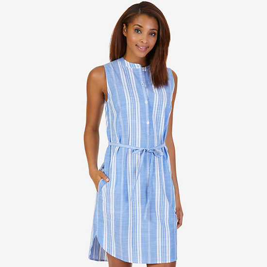 Cotton Slub Yarn Dye Stripe Dress - Star Sapphire