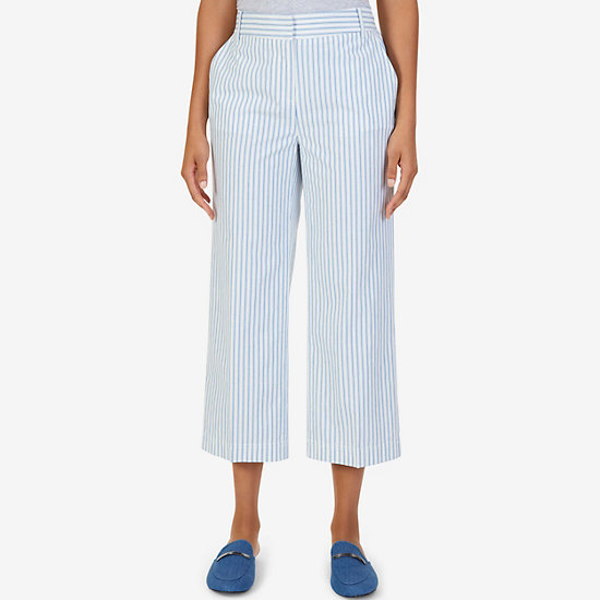 Belted Striped Goucho Pant - Marshmallow