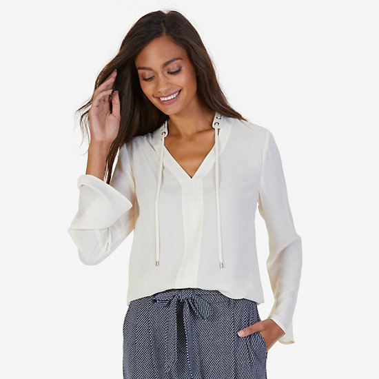 Solid Georgette Top - Chalk