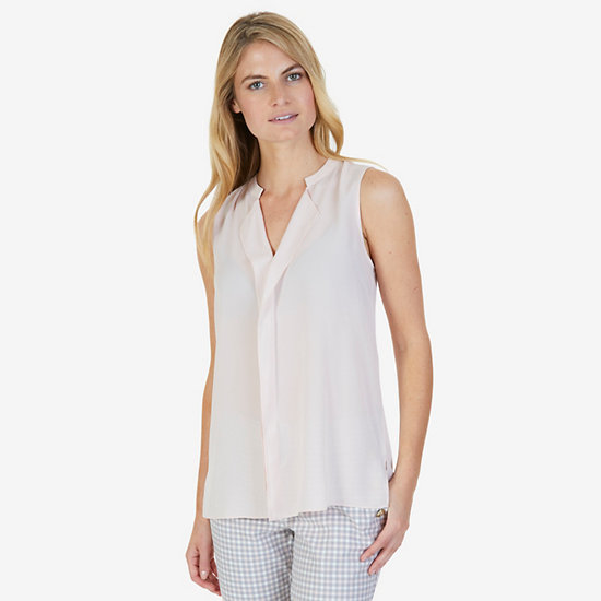 Split Neck Sleeveless Blouse - Oxford Pink
