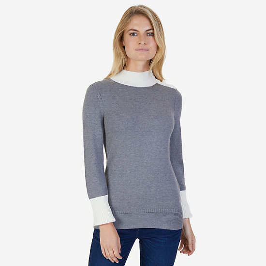 Colorblock Mock Neck Sweater - Gunpowder