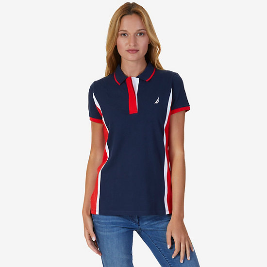Color Block Polo Shirt,Dreamy Blue,large