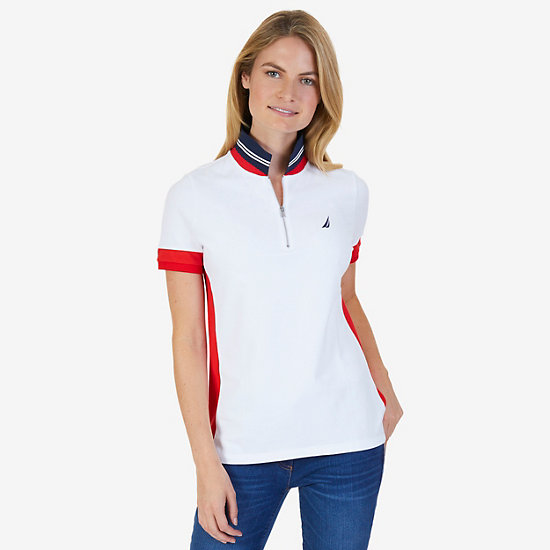 Colorblocked Stretch Pique Polo Shirt - Bright White