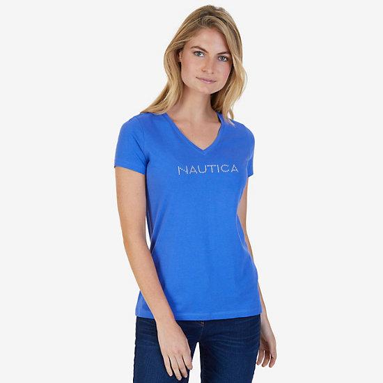 Short Sleeve V-Neck Tee with Studded Logo - Blue Bonnet