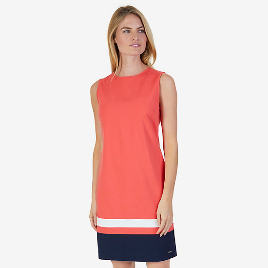 Short Sleeve Color Block Ponte Sheath Dress - Petunia