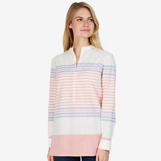 Long Sleeve Striped Tunic Shirt - Petunia