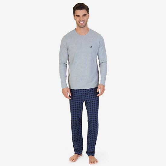 Buffalo Plaid Knit Pajama Set - Grey Heather