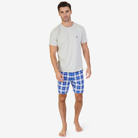 Solid Tee & Plaid Pajama Short Set - Oatmeal