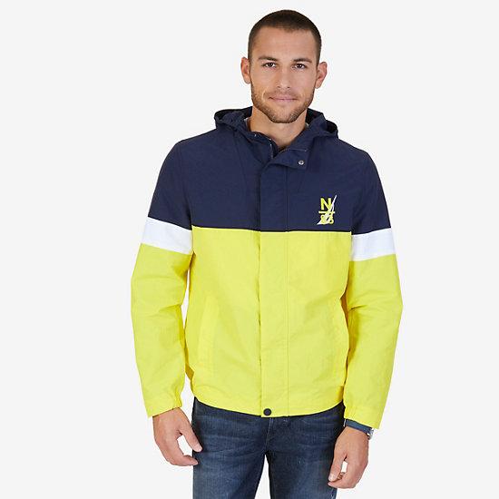 Hooded Colorblock Nylon Jacket - Canary