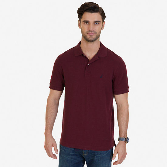 Solid Pique Deck Polo Shirt - Rescue Red