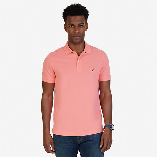 Slim Fit Deck Polo Shirt  - Pale Coral